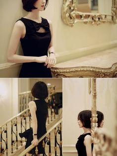 milkcocoa. | black ribbon dress.