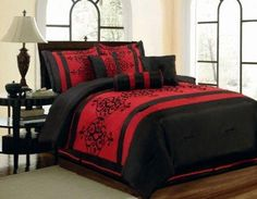 I found '7Pcs Queen Catherine Flocking Black and Red Comforter Set' on Wish, check it out!
