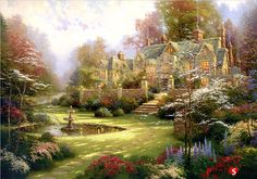 "Gardens Beyond Spring Gate""  - thomas kincade. Description from pinterest.com. I…"