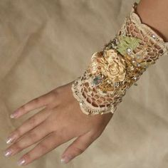 doily and flower wrist wrap. not like that one.. but i could get some ideas.