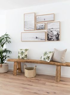 Small Stylish Spaces Feature Wall Idea Vintage Bench Home Decor Woven Basket Tro. : Small Stylish Spaces Feature Wall Idea Vintage Bench Home Decor Woven Basket Tropical Pillows Beach Style Entryway Wall Decor, Coastal Decor, Wall Decor, Farmhouse Decor, Hallway Pictures, Beach House Decor, Living Room Decor, Home Decor, House Interior
