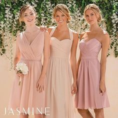 These pretty in pink bridesmaids by @jasmine_bridal are so lovely!