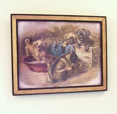 Vintage English Puppy Print Pug Puppy Art Picture by LudlownFifth, $18.00