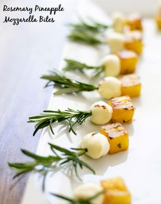 Sweet pineapple and creamy mozzarella sauteed with rosemary and olive oil make a perfect appetizer! You'll love these rosemary pineapple mozzarella bites!