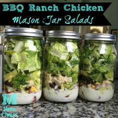 BBQ Ranch Chicken Mason Jar Salads - a tangy cool delicious lunch option that won't thwart your diet! Make up a batch on Sunday - these will keep all week in the fridge!