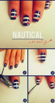 Nautical DIY nails, perfect for every season! Get all your nail care and polish at Beauty.com.