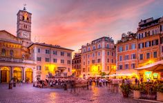 """Nightlife in Trastevere, Rome, Italy. Tim E White / Photolibrary /Getty """"The Perfect Day in Trastevere, Rome's Favorite Neighborhood"""" Rome Travel, Italy Travel, Places In Italy, Places To See, Walking Tour, Chateau Saint Ange, Free Things To Do In Rome, Voyage Rome, The Neighbourhood"""