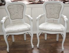 A pair of french style armchairs look fantastic after being painted with Annie Sloan and re-upholstered with this amazing french script fabric! X