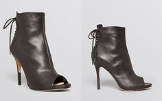 Pour La Victoire Peep Toe High Heel Lace Up Booties - Vanya