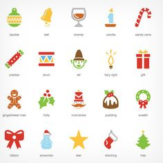 Festive Christmas Icons - in both color and B&W Christmas Fonts, Christmas Design, Christmas Snowman, Christmas Crafts, Christmas Holiday, Christmas Doodles, Vector Christmas, Holiday Themes, Christmas Themes