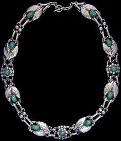 GEORG JENSEN (1866-1935) A silver necklace set amazonite stones. Denmark. 1915-1927.  Marked 'G1', '830', number '1' and 'Importe de Danemark'. (Import of Denmark)