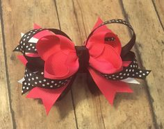 Black, white shocking pink hair bow> Minnie mouse inspired. baby girl - $5