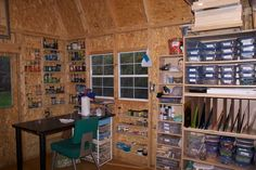 "Fused Glass supply storage and work area--niche shelving between studs or ver narrow shelves (maybe 3-4"" deep)"