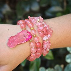 Beaded pink stacking bohemian boho bracelets designed by Denise Yezbak Moore for www.halcraft.com