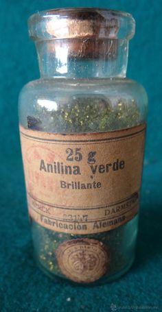 ANILINA VERDE - MERCK - ANTIGUO FRASCO FARMACIA - AÑOS 1930,s - BOTAMEN -