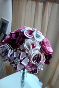 designer wool felt flower bouquet for brides -  almost finish... message me - they are made to order