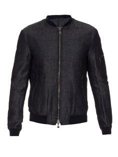 Cotton and linen-blend bomber jacket   John Varvatos