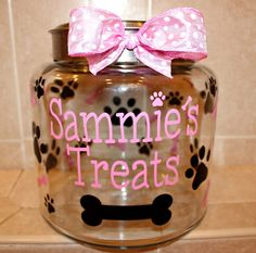 Personalized Vinyl Dog Treat Jar Decals by LulusGoodies on Etsy, $8.00