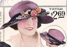 Early 1920s hat- purple straw with band and flowers  http://www.vintagedancer.com/1920s/1920s-hats-styles/