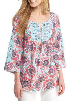 c08a5e0a21f15 Crown   Ivy Women s Plus Size 0X Paisley Print 3 4 Sleeve Crochet Peasant  Top