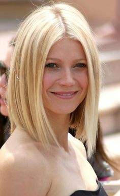Gwyneth Paltrow's long sleek bob is edgy and angled to be longer in the front