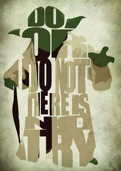 Star Wars Yoda Poster - Minimalist Illustration Typography Art Print & Poster