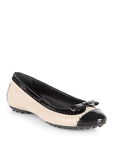 Tod's Perforated Leather & Patent Leather Ballet Flats