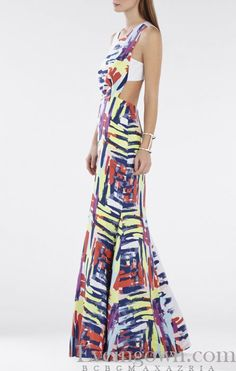 BCBG Zhanna Printed Open Back Evening Gown