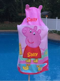 Peppa Pig hooded towel wrap Beach Towel - Personalized Beach Towel wrap by CACBaskets on Etsy