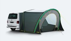 The TENT is the ideal supplement to your adventure equipment. Pack everything you need for your freetime into the bus and zoom off – the ingenious tent system from GYBE will easily double the floor space of your bus. Best Tents For Camping, Truck Camping, Van Camping, Camping Diy, Diy Camper, Camper Van, Vw Bus, Van Tent, Foodtrucks Ideas
