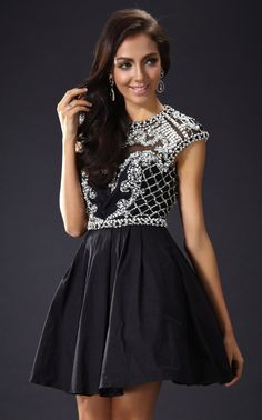 Elegant Ruffled Short Prom Dress | The Kewl Shop - This dress is made for prom night and is the perfect combination of cute and sophistication. A tighter bodice with extravagant beading and a loose flared skirt works exceptionally well. Made from an organza polyester with crystal beading for decoration the overall look is simply awesome. A short hemline with underskirt mesh padding keeps the skirt part of the dress flared and looking ruffled, its just stunning.