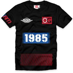Top Three 1 OG 1985 T-Shirt ($30) ❤ liked on Polyvore featuring tops, t-shirts, classic fit t shirt, retro tops, short sleeve t shirt, short sleeve cotton tops and retro t shirts
