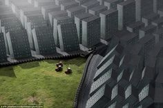 In this bizarre picture called Zip City, tractors pull a zip closed and in doing so connect two layers of grey urban buildings over a green landscape