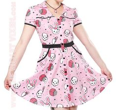 Zombies AND bunnies?! I am so in love. The Violet Vixen - Zombie Bunnies Hellbilly Dress, $52.00 (http://thevioletvixen.com/clothing/dresses/zombie-bunnies-hellbilly-dress/)