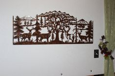 Deer and Mountain Scene with 4 Majestic Bucks Large Metal Wall Art Majestic Bucks with Mountain and Pine Tree Scene Large Metal Wall Sign Measures: x Metal Sun Wall Art, Metal Walls, Metal Art, Rustic Walls, Rustic Wall Decor, Rustic Art, Western Decor, Unique Wall Art, Wall Sculptures