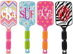 Monogrammed Hair Brushes. Great gift idea for my tween!