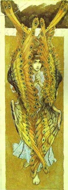 Melek Taus -Victor Vasnetsov ~ Seraphim, Angel with peacock feather wings. Angels Among Us, Angels And Demons, Seraph Angel, Art Magique, Henri Fantin Latour, Mystique, Orthodox Icons, Angel Art, Gustav Klimt