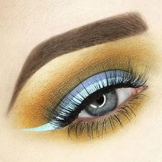 """E V E R G L A D E S 'Fly', 'Mustard', 'Marsh', + 'Jam' from #VENUS2 and Liquid Liners in 'Blue Milk' and 'Lunar Sea' via @rebeccaseals  Other details: ABH Dipbrow in Auburn & Medium Brown and Nubounsom """"Serengeti"""" Lashes"""