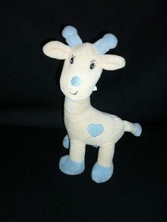 ARTHUR ET LOLA  Doudou Girafe beige et bleu  32 cm environ