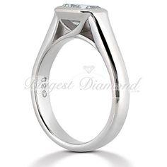 Unique Cathedral Bezel 0.75-2.5 carat Emerald Cut Solitaire Diamond Engagement Ring
