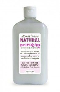 Nourishing Dog Conditioner by Bobbi Panter Pet Products is a unique formula that combines natural safflower oil, keratin, shea butter and aloe vera gel to nourish dry skin while moisturizing and restoring fur. It not only detangles and dematts fur but to also leaves fur shiny, soft and manageable with a soft Sea Air scent.  www.bobbipanter.com