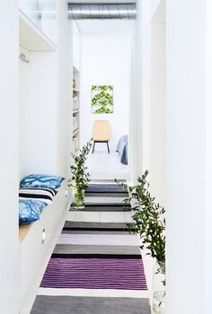 Vallila's introductions for spring/summer include Pornainen, highlighting purple tones paired with gray and blue. Scandinavian Living, Home Furnishings, Upholstery, Sweet Home, Room Decor, Flooring, Living Room, Interior Design, Rugs
