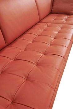 """Dimensions: LAF 3 Seater: W86"""" x D39"""" x H35"""" RAF Chaise: W47"""" x D63"""" x H35"""" Seat Depth: 23"""" Seat Height: 17"""" FULL LEATHER - Upholstered In Italian Leather/Leather Split - Color: Orange Cat.3 BE6003 - Right Facing Chaise - Pillows Included - Metal Legs Leather Reclining Loveseat, Leather Sectional, Sectional Sofa, Sofas, Home Decor Inspiration, Design Inspiration, Italian Leather, Love Seat, House Design"""