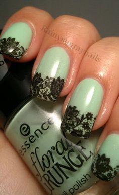 Wet n wild megalast nail polish, Olive green nails. Lace Nail Art, Lace Nails, Lace Nail Design, Gold Nails, How To Do Nails, Fun Nails, Pretty Nails, Pretty Nail Designs, Nail Art Designs