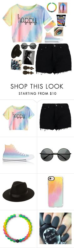 """Slightly Happy"" by sofiagarcia-27 ❤ liked on Polyvore featuring Boohoo, Converse, Lack of Color, Casetify, Lokai and Gucci"