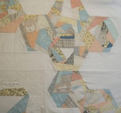 Calm and Serene, improv pieced hexagons by Smiles Too Loudly