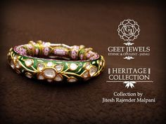 Exemplary jadau jewelry with a trust in tradition. Meenakari Bangles designs inspired by Mughal Era with a blend of Gold, Polki, Diamond, Precious stones. Cute Crafts, Gold Bangles, Indian Jewelry, Handcrafted Jewelry, Jewelry Crafts, Jewels, Diamond, Pakistani, Bracelets