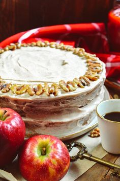 Apple Walnut Cake with Cinnamon Cream-Cheese Frosting - Ciao Chow Bambina Cinnamon Cream Cheese Frosting, Cinnamon Cream Cheeses, Round Cake Pans, Round Cakes, Delicious Desserts, Dessert Recipes, Drink Recipes, Cake Recipes, Awesome Desserts