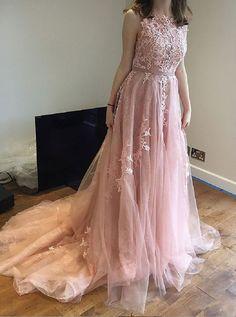 Long Pink V Neck V Back Prom Dresses with Lace Appliques
