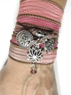 Namaste Yoga jewelry Lotus Silk Wrap bracelet Elephant Om by HVart, $28.99